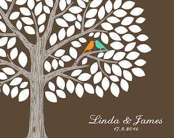 Wedding Tree Guest Book with kissing love birds, Signature Tree Guestbook Alternative for around 100 guests - DIGITAL PRINTABLE JPEG