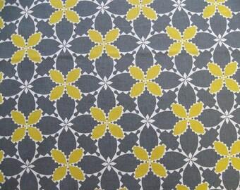 One Yard-KOKKA -Ellen Luckett Baker - Folk Modern-Floral in Grey/Yellow
