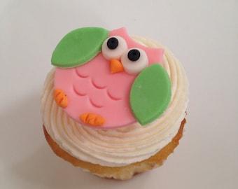 Edible Owl fondant cupcake toppers