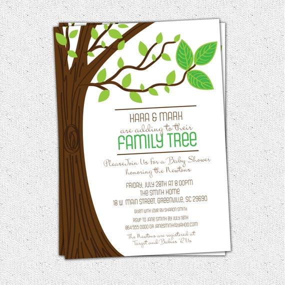 Family Baby Shower Invitations: Family Tree Baby Shower Invitation Printable Three Leaves