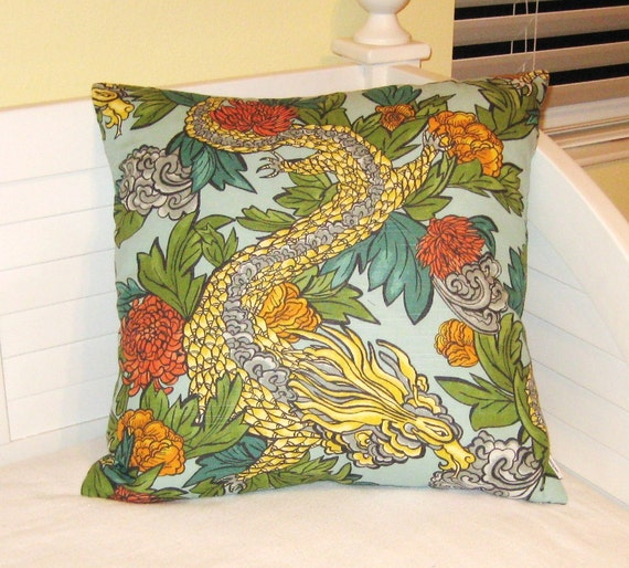 Robert Allen Dwell Studio Ming Dragon in Aquatint Pillow Cover