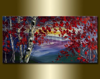 Commission Original Autumn Birch Tree Forest Textured Palette Knife Landscape Painting Oil on Canvas Modern Art Seasons 20X40
