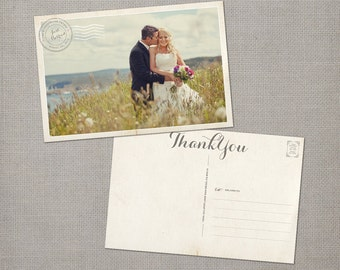 "Wedding Thank You Post Cards, 4x6, Wedding Thank You, the ""Jacqueline"""