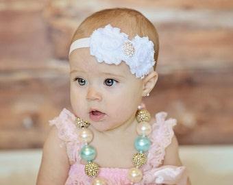 White Baby Headband - Shabby Chic Headband - Newborn Baby Toddler Girls to Adult