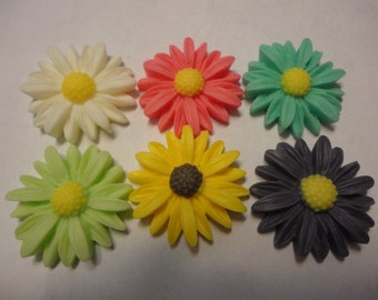 Kawaii colorful margaret flower cabochons  6 pcs---USA seller