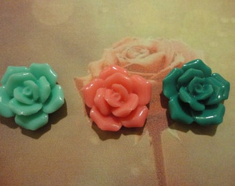 Kawaii  rose cabochons  decoden deco diy charms  3 pcs---USA seller