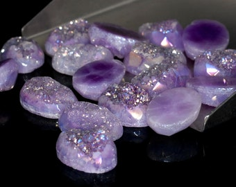 Grade AA Faceted Amazing 1 Piece Purple Oval 10x14mm Calibrated Druzy Druse Cabochon B84D5669