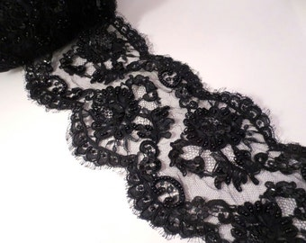 "Black on Black Floral Design Beaded Alencon Lace Trim 6"" Wide--One Yard"