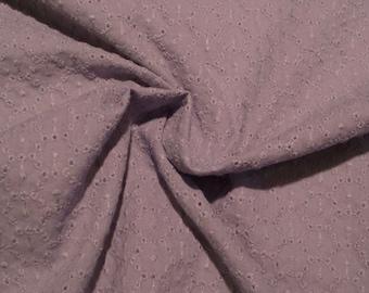 Blue Gray Circle Design Pure Cotton Eyelet Fabric--One Yard