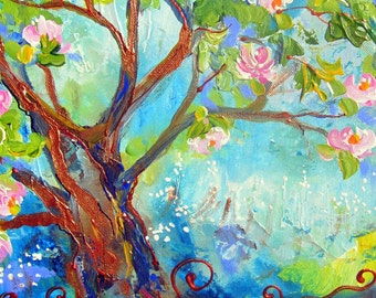 Cherry Tree Landscape painting wall decor wall art abstract painting gift for her canvas painting  11 x 14 Original Painting by Elaine Cory