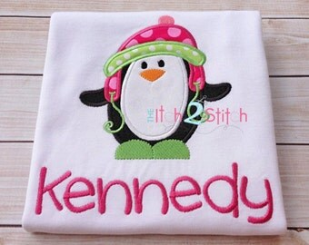 "Penguin Winter Applique Design For Machine Embroidery INSTANT DOWNLOAD now available, shown with our ""Cinnamon Cake""  font (NOT included)"