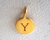 24 K Gold Plated Alphabet Letter Y  Initial Charm