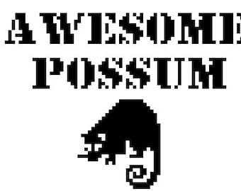 Awesome Possum Cross-Stich Pattern