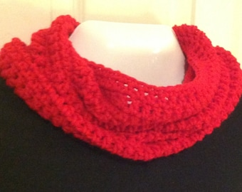 Red infinity bulky cowl scarf ruby red