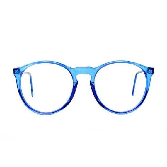 Glasses Frames Blue : Blue Round Vintage Eyeglasses transparent 80s glasses Azul