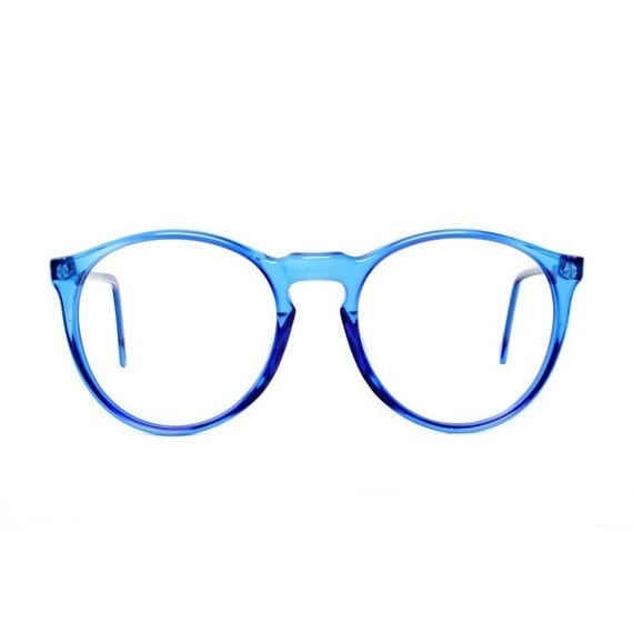 Blue Round Vintage Eyeglasses transparent 80s glasses Azul