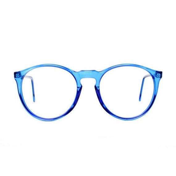 Best Eyeglass Frame Color : Blue Round Vintage Eyeglasses transparent 80s glasses Azul