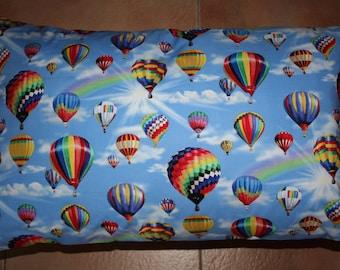 Hot air balloon pillowcase, standard size, blue
