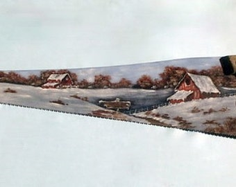 Order 4 Vintage Handsaw, Winter, Old Farm 4 Sale, Homestead, Hand Painted, Gift Idea, Gift Idea 4 Him/Her, Metal Art, Fathers Day