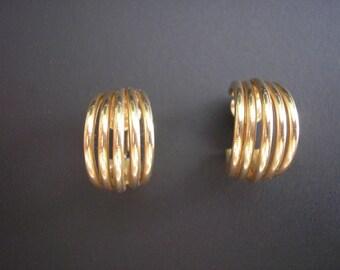 Vintage 12 Karat Gold Filled Multi Hoop Clip On Earrings