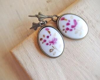 Vintage flower illustration earrings, oval white glass stones in antique brass, petals in purple,violet,gold, sale, gift under 10