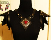 Black Heart Leather Shoulder Harness and Pauldrons- Costume, Armor, Fantasy, Burning Man, Renaissance Fair, Wasteland Weekend, Cosplay