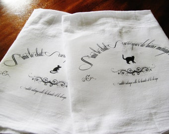 Vintage Chic French Typography Cat and Mouse Kitchen, Tea Towels, Can Be Personalized, 100% Cotton, Flour Sack, Dish Towel, Rustic