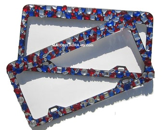 Red White and Blue Acrylic stone License Plate Holder