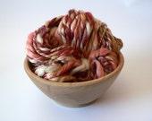 Handspun 2-Ply Art Yarn Thick n Thin Merino Bamboo -Tuscany 37 yards