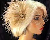Wedding Bridal Fascinator, Bridal Fascinator, Feather Fascinator , Wedding Veil, Bridal Headpiece - Champagne, Gold-tone Brooch with Pearls