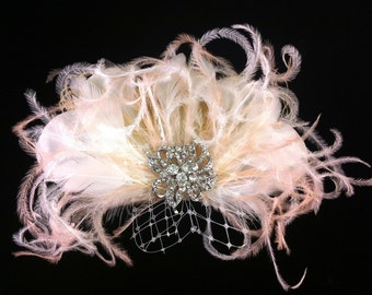Bridal Feather Fascinator with Brooch, Bridal Fascinator, Feather Fascinator, Fascinator, Bridal Veil, Ivory and Blush