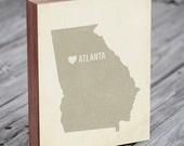 Atlanta Art Print - Atlanta - Atlanta Art - Atlanta Georgia - I Love Atlanta - Wood Block Art Print