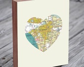 LA - Los Angeles  Art - LA  Map - Los Angeles Map Art - City Heart Map - Wood Block Art Print