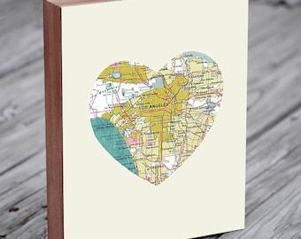 LA - Los Angeles  Art - LA  Map - Los Angeles Map Art - City Heart Map - Wood Block Art Print