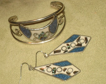 Alpaca Silver Bracelet and Dangle Earrings Set, Stone Inlay