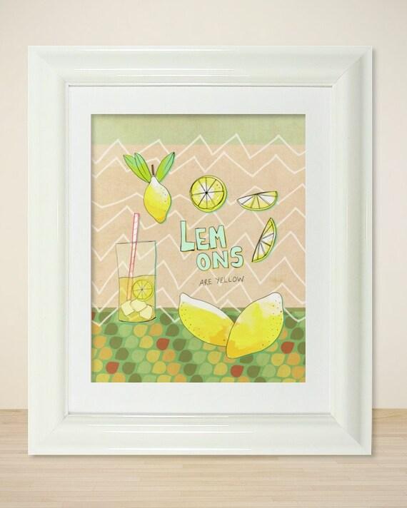 Lemons are Yellow // Illustration, Typographic Print, Kitchen Decor, Poster Print, Pattern. Drawing, Summer Decor, Lemons, Yellow, Lemonade