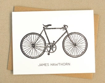 Personalized Bicycle Stationery with Name / Bike Stationary Note Card Set