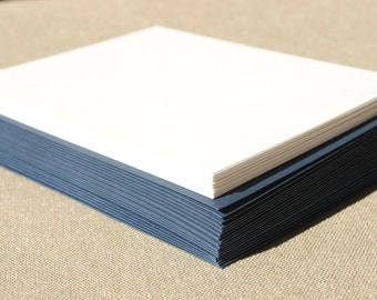 Blank Stationery Set with Navy Blue Envelopes - Set of 20 Flat A2 Size Cards