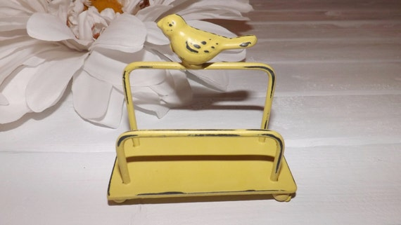 Bird Business Card Holder / Daffodil Yellow / Office Decor / Shabby Chic Decor