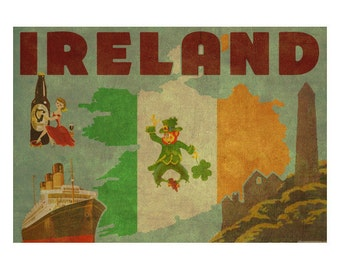 IRELAND 2F- Handmade Leather Postcard / Note Card / Fridge Magnet - Travel Art