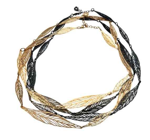 black and gold Leaf Strand Metal Lace Necklace