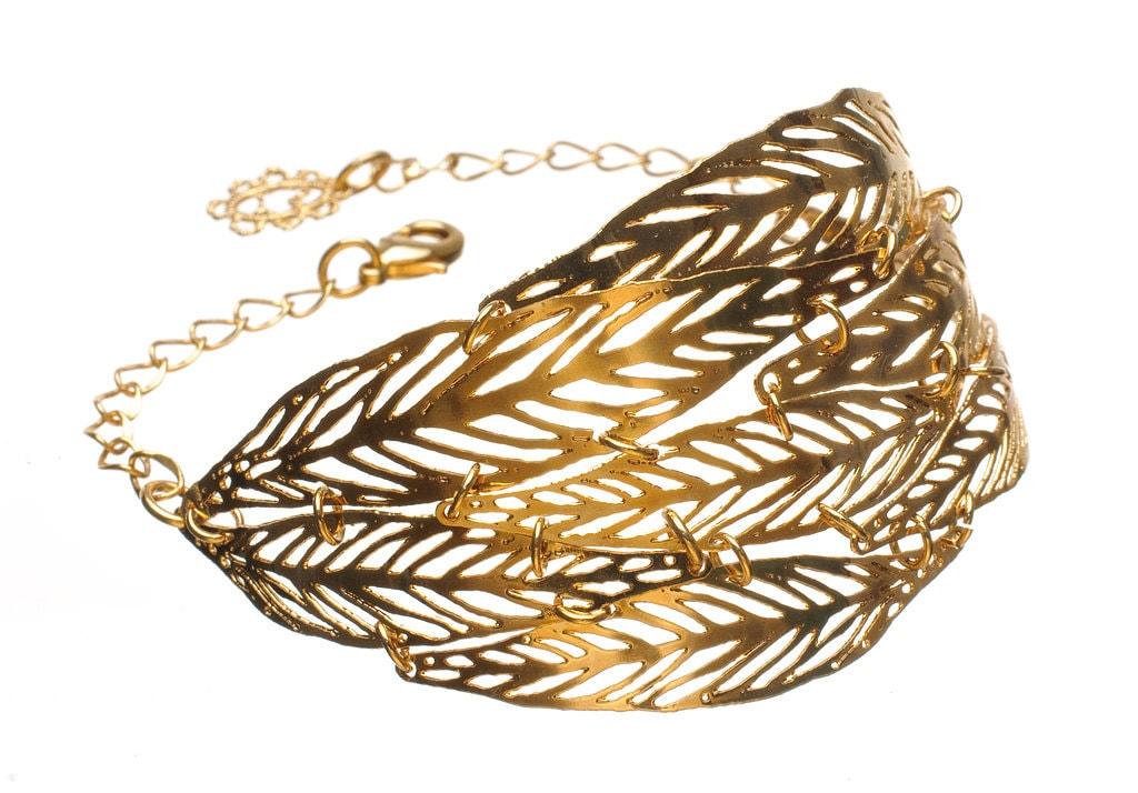 24 karat gold plated Leaf metal lace Bracelet