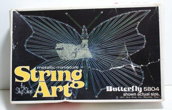 Butterfly String Art Kit 1977 Vintage Metallic String Art Kit by Ship Shop Kit no 5804
