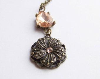 Rose Glass Stone Peach Flower Antique Brass Necklace
