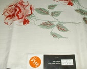 Vera Neumann Tablecloth Ladybug Roses Pure Linen 52 x 52 With Original Tag Vintage New Old Stock