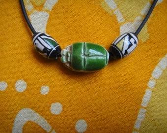 Ancient Egyptian Scarab Beetle Peruvian Bead Necklace / Choker Mens  Aztec Geometric Tribal Inca