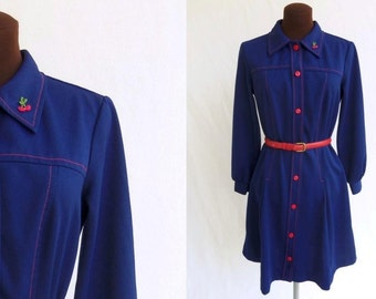 Vintage 60s Dress Navy Blue Polyester Knit with Red Top Stitching and Buttons Mod Size M / Medium