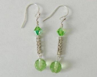 Silver with Green Swarovski Crystal Dangle Earrings