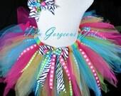 Birthday Ribbon Tutu & Optional Headband Set...Zebra Print and Polka Dot Ribbon Streamers . . . JUBILEE BIRTHDAY