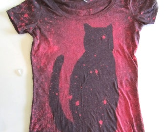Cat shirt - Space Cat - Pink and Purple - Hand Dyed Bleached Cat Tshirt - Cat Lady Shirt - Galaxy Women Top - Christmas Gifts For Friends